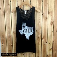 Texas Y'all - Women's Plus Size Black Tank Top, Graphic Print with Lace back