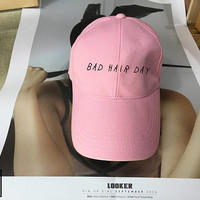 Bad Hair Day Dad Hat Black Pink White - Baseball Cap, Tumblr hat , Dad Hat Dad Cap Baseball Hat Baseball Cap , Low-Profile Baseball Cap Hat