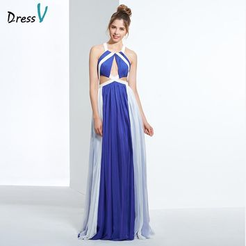 Dressv indigo A line chiffon long prom dress halter sleeveless pleats hollow criss-cross straps back evening party prom dresses