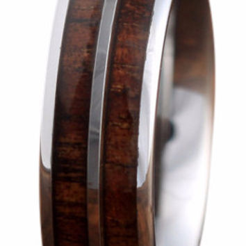 6mm Tungsten Carbide Ring With a Koa Wood Inlay