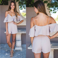 Khaki Off the Shoulder Spaghetti Strap Romper