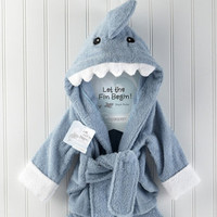 ideeli | BABY ASPEN Let The Fin Begin Sea Blue Shark Robe