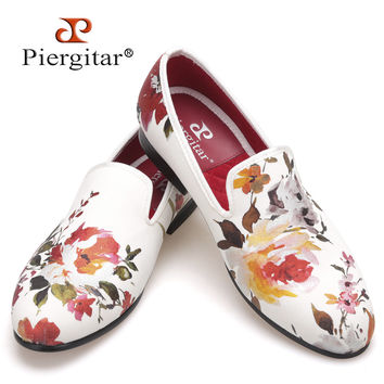 New style Handmade white color print gold flower style men loafers wedding and party men shoes Fashion men's flats