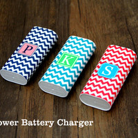 Teen Chevron Monogram Portable Power Bank Battery Charger for iPhone and Samsung