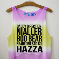 One Direction Nick Name Tie Dye Crop Top | fresh-tops.com