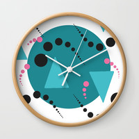 Blue Bubble Wall Clock by Grimalkin Studio