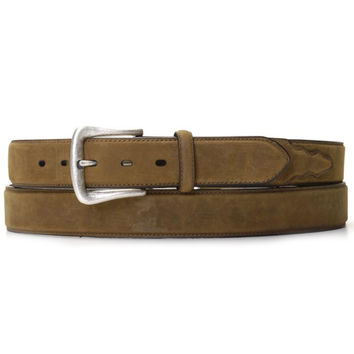 Nocona Men's Western Brown Leather Work Belt Silver Buckle