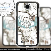 Blue Antlers Monogram Galaxy S4 case S5 Real Tree Camo White Deer Personalized Browning Samsung Galaxy S3 Case Note 2 3 Cover Country Girl