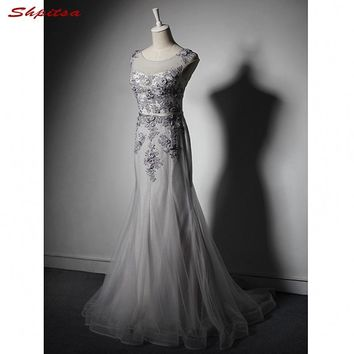 Grey Long Lace Mermaid Prom Dresses Tulle Party Formal Evening Gowns Dresses vestidos de formatura
