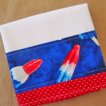 Flour Sack Towel - Fabric Trimmed Dish Towel - Lint Free Tea Towels - Red White Blue - Rocket Pop Popcicle - Summertime Decor - July 4th