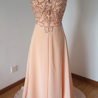 2015 Sexy Backless Spaghetti Straps Light Peach Chiffon Beaded Long Prom Dress with Long Train