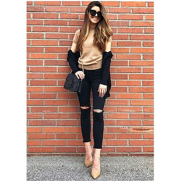 2104 New Fashion High Waist Jeans Cotton Denim Pants Stretch Womens Ripped Knee Skinny Jeans Black Ankle Jeans For Female