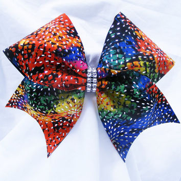 Cheer bow- Rainbow colored bow-Cheerleading bow-Cheerleader bow-Dance bow-Softball bow-Cheerbow- made for me cheer bows