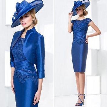 2016 Royal Blue New Elegant Sheath Mother of the Bride Wedding Pant Suit Knee-Length Mother of The Bride Dresses With Jacket