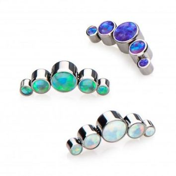 Get Pierced with Titanium 5 Cluster Opal Jewelry ( Tragus...Lobe & Helix)