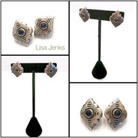 Lisa Jenks Small Sterling Silver Clip-on Earrings, Scalloped Diamond Shape, Matte Silver & Iolite Cabochons, Signed, Vintage Gift for Her