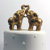 Gold Indian Elephant Wedding Cake Toppers