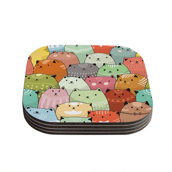"Snap Studio ""Kitty Attack"" Cat Illustration Coasters (Set of 4)"