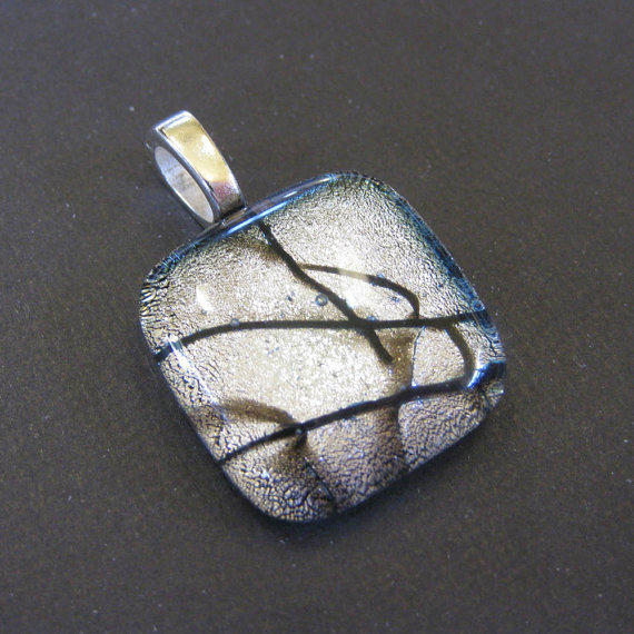 Silver Dichroic Fused Glass Slide Pendant, Black Accents - Stunning Silver - tt team