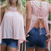Garden Peach Crochet Yoke Lace Up Fly Back Tank
