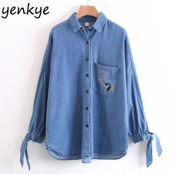 Women Blue Denim Shirt Blouses Tie Sleeve Casual Autumn Oversized Blouse Pockets Embroidery Shirts