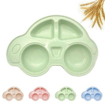 Creative Cartoon car mold Wheat Straw Lunch Tray Dishes Kids Bowl Dinnerware Children's Tableware 15