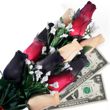 Red, Black & Peach Bouquet | Cash Roses®