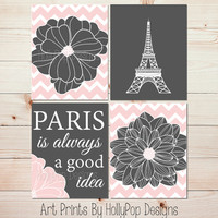 Eiffel Tower Wall Art Paris is Always a good idea Gray Peach Pink Wall Art Floral Burst Dahlia Flower Art Prints Audrey Hepburn Paris #1062