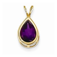 14k Yellow Gold Pear Bezel Pendant