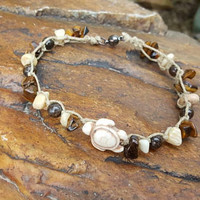 Hemp Anklet, Sea Turtle, Tigers Eye, Gift for Her, Hemp Jewelry, Turtle, Handmade, Anklet, Beach Anklet, Summer Jewelry, Shell Anklet, Gift