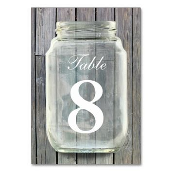 Country Barn Wood Mason Jar Table Numbers