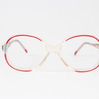 Vintage 1980s Swank Clear Round Eyeglass Frames with Red and Blue Detail - Missy