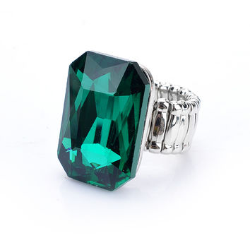 Personality Elegant Big Rings For Women 7 Colours Big Glass Stone Fashion Elastic Stretch Finger Rings Jewelry Love