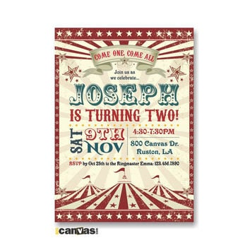 Circus Tent Birthday Invitation. Circus Themed Party. Circus Invitation. Circus Party Invitation. Vintage Circus Themed Party Red Teal 270