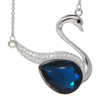 Dear Deer White Gold Plated Cubic Zirconia Blue Swan Pendant Necklace