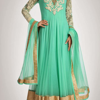 Sea green color long anarkali suit