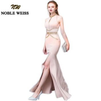NOBLE WEISS Crystal Beading Evening Dresses Mermaid Split Floor-Length Sexy Prom Dress Long Evening Gown Wedding Party Dress
