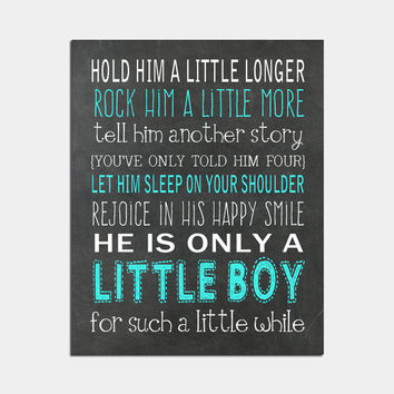 Hold Him A Little Longer Print Boy Nursery Art Little Boys Room Decor Children's Wall Art
