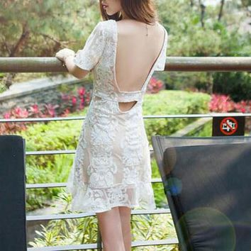 White Plain Lace Grenadine Ruffle Backless Round Neck Short Sleeve Mini Dress