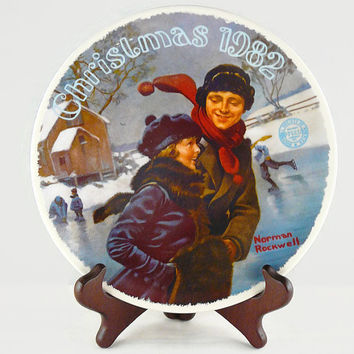 Vintage 1982, Norman Rockwell, Ninth Edition, Christmas Collection, Christmas Courtship Plate