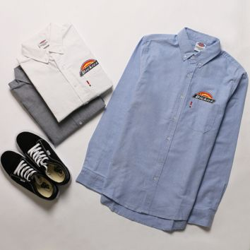 """DICKIES""long sleeve Men Oxford spinning pure color shirt"