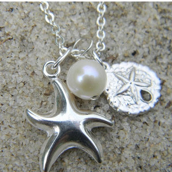 Holiday Sale Starfish and Sand Dollar Charm Necklace Sterling