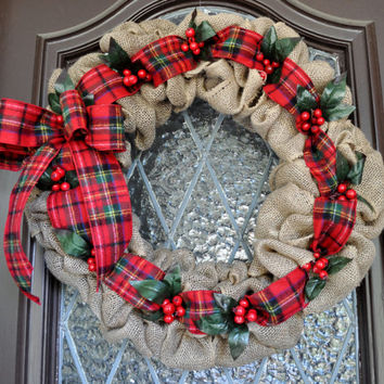 Christmas Wreath- Burlap Christmas Wreath, Holiday Wreath, Plaid Wreath, Personalized