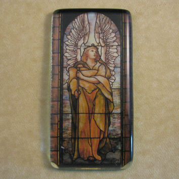 """Louis Comfort Tiffany's """"Angel of the Resurrection"""" Stained Glass Window Rectangle Glass Tile Paperweight Home Decor"""