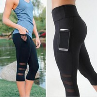 Fitness Workout Lace Permeable Yoga Pants Capri [28275900442]
