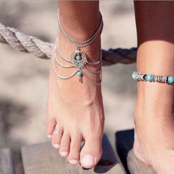 High Quality Boho Ethnic Turquoise Beads Anklets Chic Tassel Foot Chain Anklet Bracelet Body Jewelry Anklets For Women SWXFS107