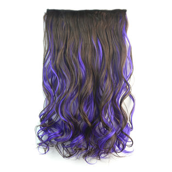 5 Cards Wig Piece Hair Extension Highlights    dark brown with dark purple