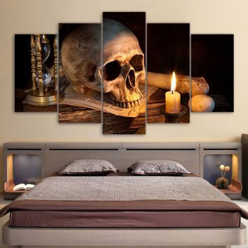 Personalized Wall Art Skull Painting 5 Piece Skull Art Pictures Canvas Print for Living Room Decor Home Fashion (No Frame)