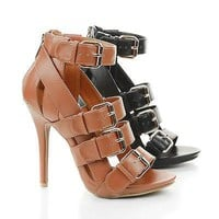 Bridget36 By Wild Diva, Open Toe Gladiator Strappy Stiletto Heel Sandal
