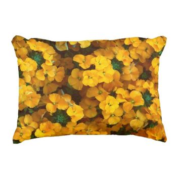 Orange Wallflower Floral Photo Decorative Pillow